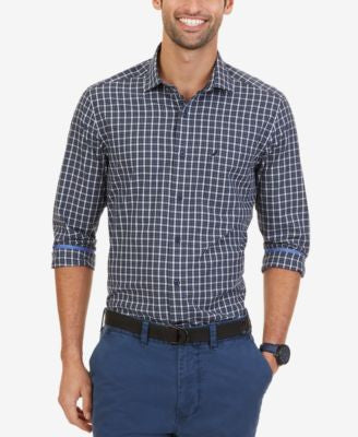 Nautica Men's Wrinkle-Resistant Navy Plaid Shirt