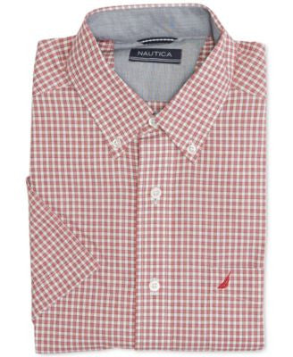 Nautica Men's Wrinkle-Resistant Orchid Pink Gingham Short-Sleeve Shirt