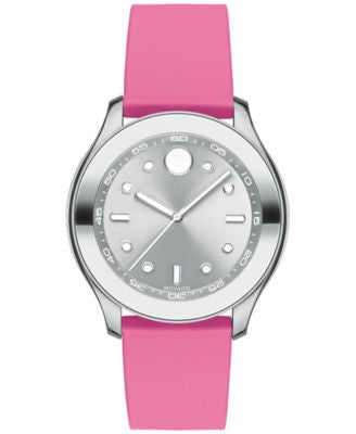 Movado Women's Swiss Bold Active Pink Silicone Strap Watch with Interchangeable Strap 38mm 3600393