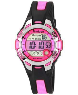 Armitron Women's Digital Black and Pink Strap Watch 35mm 45-7030PNK