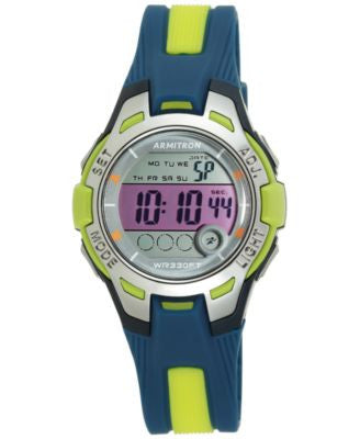 Armitron Women's Digital Navy and Light Green Strap Watch 35mm 45-7030NVLG