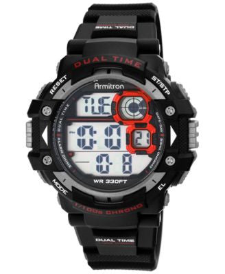 Armitron Men's Digital Chronograph Black Strap Watch 54mm 40-8309RED
