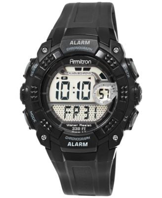 Armitron Men's Digital Chronograph Black Strap Watch 49mm 40-8209BLK