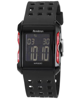 Armitron Men's Digital Chronograph Black Strap Watch 31mm 40-8177RED