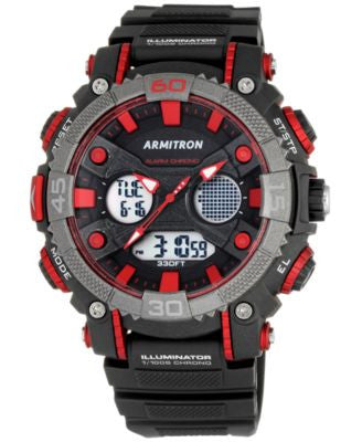 Armitron Men's Analog-Digital Chronograph Black Resin Strap Watch 50mm 20-5108RED