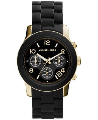 Michael Kors Women's Chronograph Runway Gold-Tone Stainless Steel and Black Polyurethane Bracelet Wa