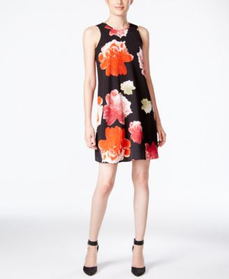 Calvin Klein Petite Sleeveless Floral-Print Shift Dress