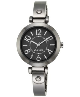 Nine West Women's Gunmetal Stainless Steel Bangle Bracelet Watch 32mm NW-1889GNGN