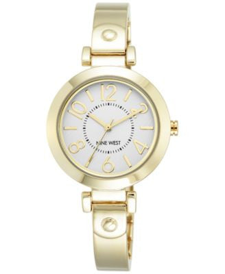 Nine West Women's Gold-Tone Stainless Steel Bangle Bracelet Watch 32mm NW/1888SVGB