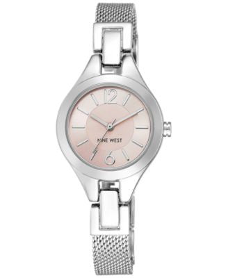 Nine West Women's Stainless Steel Mesh Bracelet Watch 28mm NW-1883PKSB