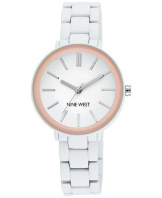 Nine West Women's White Rubber Bracelet Watch 34mm NW/1877PKWT