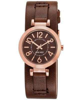 Nine West Women's Brown Leather Strap Watch 32mm NW/1866BNRG