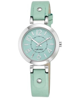 Nine West Women's Mint Leather Strap Watch 32mm NW-1713MTMT