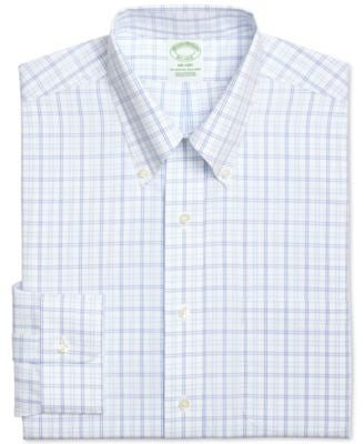 Brooks Brothers Men's Milano Extra Slim-Fit Non-Iron Blue Plaid Dress Shirt