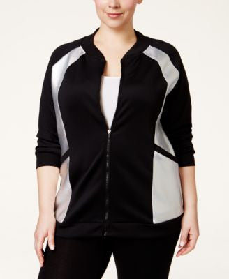 Jessica Simpson The Warm Up Plus Size Scuba Bomber Jacket