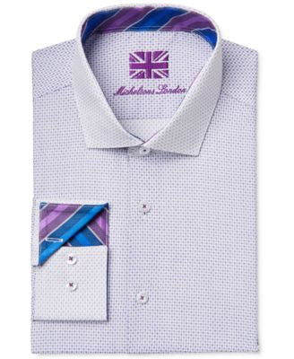 Michelsons of London Men's Slim-Fit Dot-Print Dobby Dress Shirt