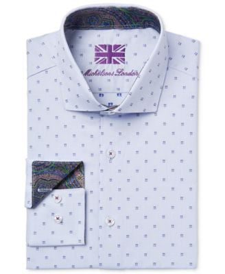 Michelsons of London Men's Slim-Fit Blue Square-Print Dress Shirt