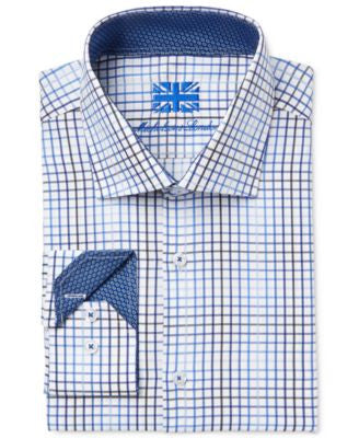 Michelsons of London Men's Slim-Fit Navy Grid-Print Dress Shirt