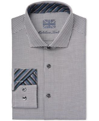 Michelsons of London Men's Slim-Fit Black Square-Print Dobby Dress Shirt