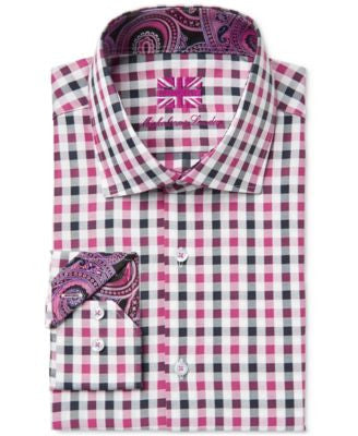 Michelsons of London Men's Slim-Fit Black and Pink Checked Dress Shirt