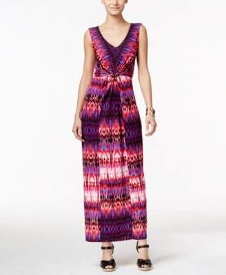 NY Collection Petite Knot-Front Printed Maxi Dress