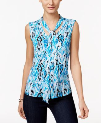 NY Collection Petite Sleeveless Printed Tie-Front Top