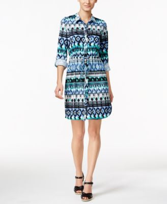 NY Collection Petite Printed Shirtdress