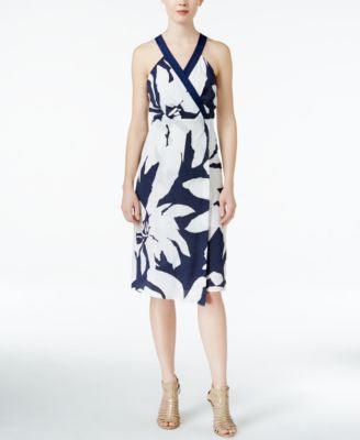 BCBGeneration Printed Halter-Neckline Midi Sheath Dress