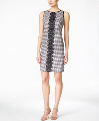 Jessica Howard Petite Sleeveless Lace-Trim Gingham-Print Sheath Dress
