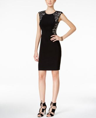 INC International Concepts Laser-Cutout Sheath Dress, Only at Vogily