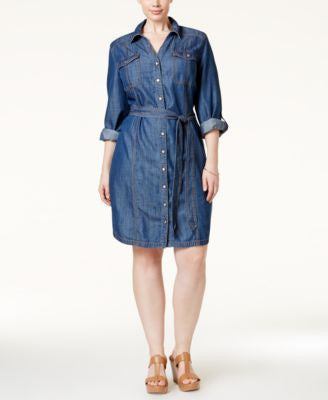 INC International Concepts Plus Size Belted Denim Shirtdress, Only at Vogily