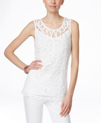 INC International Concepts Sleeveless Lace Illusion Blouse, Only at Vogily