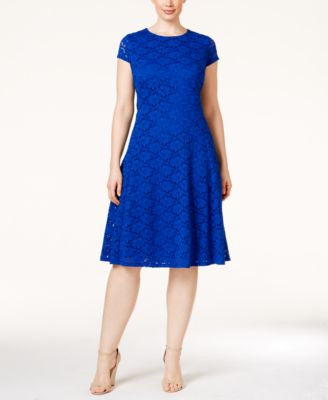 Alfani Plus Size Lace Fit & Flare Dress, Only at Vogily