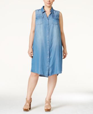 INC International Concepts Plus Size Crochet-Inset Shirtdress, Only at Vogily