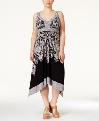 INC International Concepts Plus Size Printed Midi Dress, Only at Vogily
