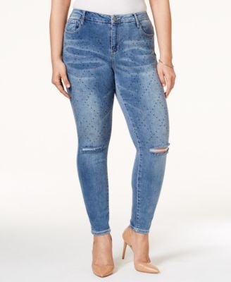 Nanette by Nanette Lepore Plus Size Diamond Studded Cropped Jeans, Only at Vogily