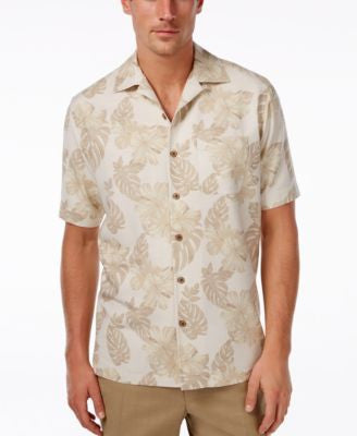 Tasso Elba Men's 100% Silk Tropical-Print Short-Sleeve Shirt, Only at Vogily