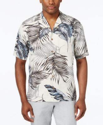 Tasso Elba Men's Silk Paradise Palm-Print Classic-Fit Shirt, Only at Vogily