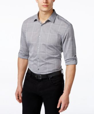 Alfani Men's Big and Tall Windowpane Long-Sleeve Shirt, Only at Vogily