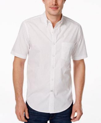 Club Room Men's Dot Print Short Sleeve Shirt