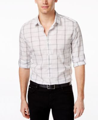 Alfani Men's Big and Tall Long Sleeve Mason Twilight Plaid Shirt, Only at Vogily