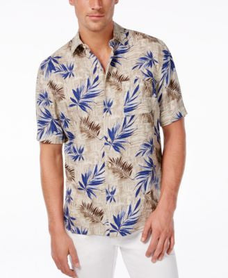 Tasso Elba Men's Patchwork Leaf Print Short-Sleeve Shirt