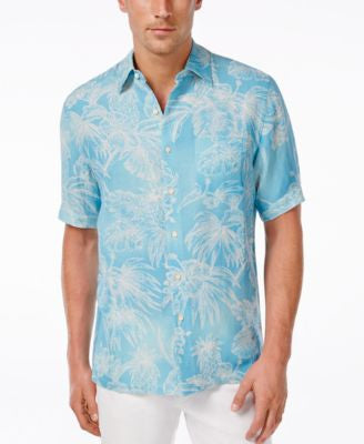 Tasso Elba Men's Big and Tall Palm-Print Short-Sleeve Shirt, Only at Vogily