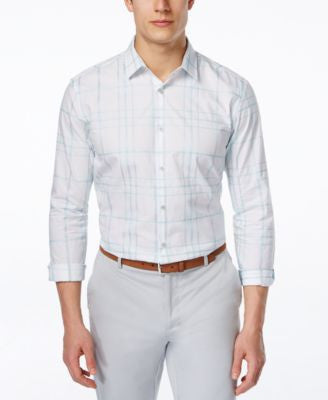 Alfani Men's Large-Grid Long-Sleeve Shirt, Only at Vogily