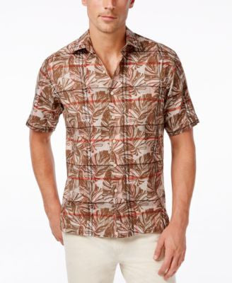 Tasso Elba Men's Tropical Plaid Short-Sleeve Shirt, Only at Vogily