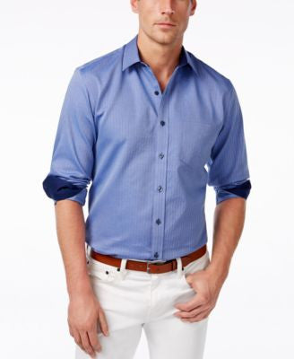Tasso Elba Men's Herringbone Long-Sleeve Shirt, Only at Vogily