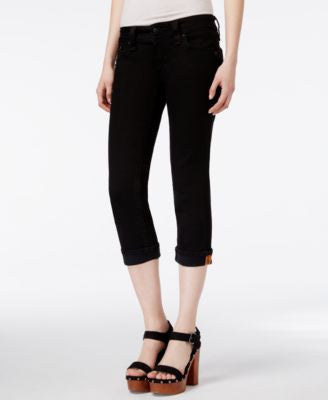 Rock Revival Cropped Black Wash Skinny Jeans