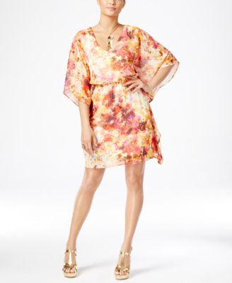 Thalia Sodi Printed Batwing-Sleeve Blouson Dress, Only at Vogily