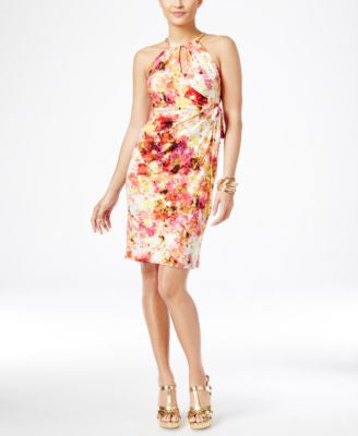 Thalia Sodi Printed Halter Faux-Wrap Dress, Only at Vogily