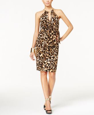 Thalia Sodi Animal-Print Halter Faux-Wrap Dress, Only at Vogily